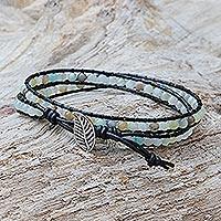 Quartz beaded wrap bracelet,