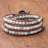 Quartz beaded wrap bracelet, 'Colorful Delight'