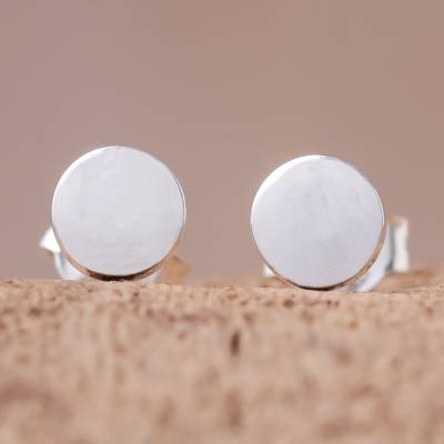 Sterling silver stud earrings, 'Round Simplicity' - Round Sterling Silver Stud Earrings from Thailand