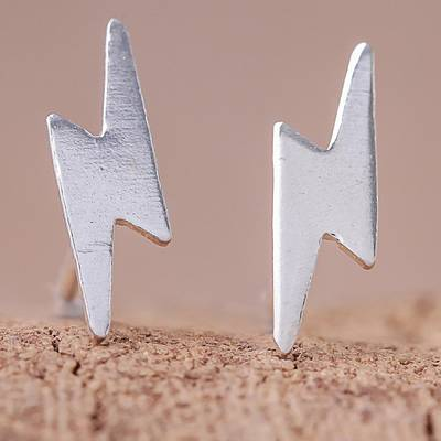 Sterling silver stud earrings, 'Electric Energy' - Lightning Bolt Sterling Silver Stud Earrings from Thailand
