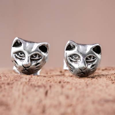 Sterling silver stud earrings, 'Pensive Cats' - Sterling Silver Cat Stud Earrings from Thailand