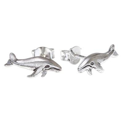 Sterling Silver Whale Button Earrings from Thailand