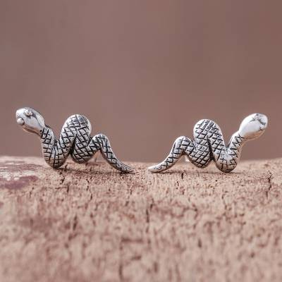 Sterling silver button earrings, 'Cute Snakes' - Sterling Silver Snake Button Earrings from Thailand