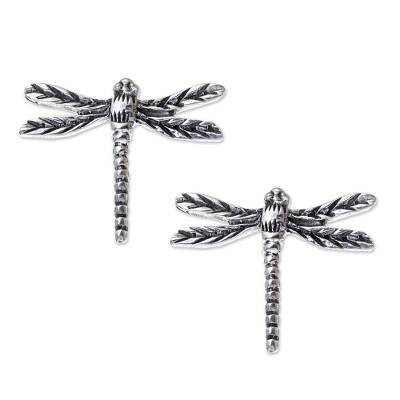 Sterling Silver Dragonfly Button Earrings from Thailand