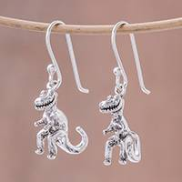 Sterling silver dangle earrings, 'Dinosaur King' - Sterling Silver T-Rex Dangle Earrings from Thailand