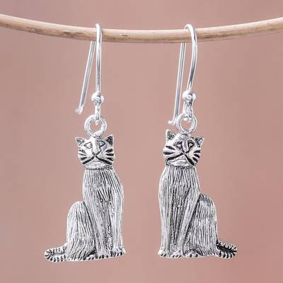 Sterling silver dangle earrings, 'Mister Cat' - Sterling Silver Cat Dangle Earrings from Thailand
