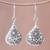 Silver dangle earrings, 'Karen Cones' - Floral Karen Silver Dangle Earrings from Thailand thumbail