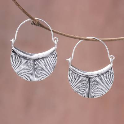 Silver hoop earrings, 'Karen Fan' - Handcrafted Karen Silver Hoop Earrings from Thailand
