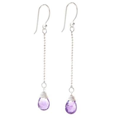 Amethyst dangle earrings, 'Gala Sparkle' - Faceted Amethyst Dangle Earrings from Thailand