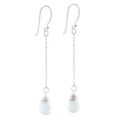 Faceted Blue Chalcedony Dangle Earrings from Thailand
