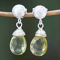Citrine dangle earrings, 'Morning Sparkle' - Faceted Citrine Dangle Earrings from Thailand
