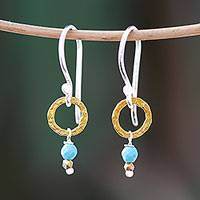 Gold accented calcite dangle earrings, 'Regal Rings' - Gold Accented Calcite Dangle Earrings from Thailand
