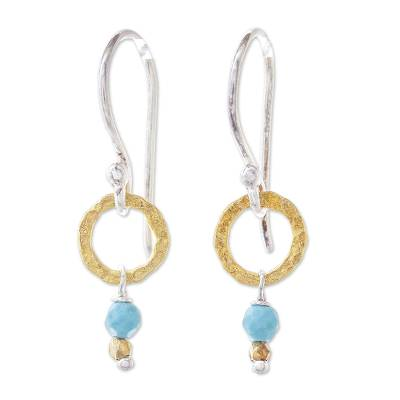 Gold Accented Calcite Dangle Earrings from Thailand