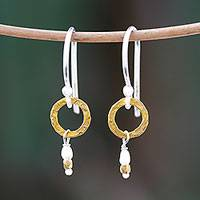 Gold accented cultured pearl dangle earrings, 'Regal Rings' - Gold Accented Cultured Pearl Dangle Earrings from Thailand