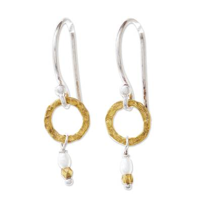 Gold Accented Cultured Pearl Dangle Earrings from Thailand
