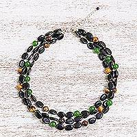 Featured review for Tigers eye and quartz beaded strand necklace, Espresso Beauty