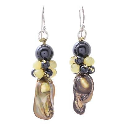 Cultured Pearl and Serpentine Beaded Dangle Earrings