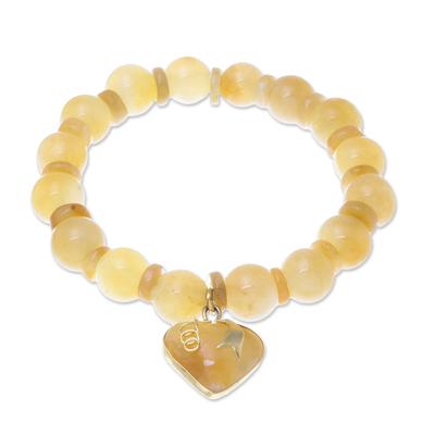 Gold accented quartz beaded stretch bracelet, 'Purest Heart in Yellow' - Gold Accented Quartz Beaded Heart Bracelet in Yellow