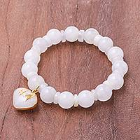 Gold accented quartz beaded stretch bracelet, 'Purest Heart'