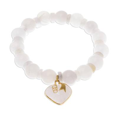 Gold accented quartz beaded stretch bracelet, 'Purest Heart' - Gold Accented Quartz Beaded Heart Bracelet from Thailand