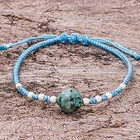 Aventurine pendant bracelet, 'Peaceful Sea' - Aventurine and Sterling Silver Pendant Bracelet