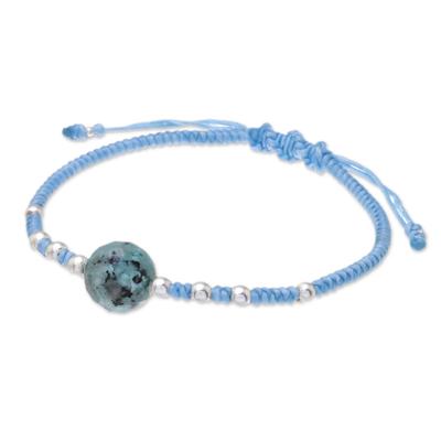 Aventurine pendant bracelet, 'Peaceful Sea' - Aventurine and Sterling Silver Pendant Bracelet