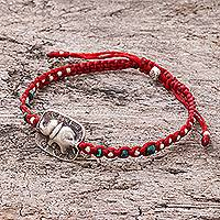 Silver beaded macrame bracelet, 'Elephant Beads in Red' - Karen Silver Elephant Beaded Macrame Bracelet in Red