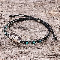 Silver beaded macrame bracelet, 'Elephant Beads in Black' - Karen Silver Elephant Beaded Macrame Bracelet in Black