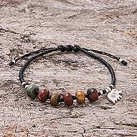 Jasper beaded bracelet, 'Fascinating Elephant' - Elephant-Themed Jasper Beaded Charm Bracelet from Thailand