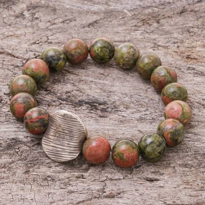 Unakite beaded stretch bracelet, 'Natural Mind' - Unakite Beaded Stretch Pendant Bracelet from Thailand