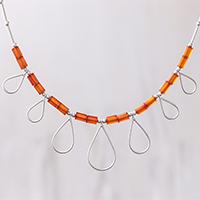 Carnelian beaded pendant necklace,