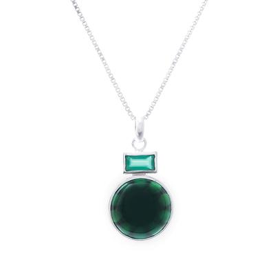 Agate pendant necklace, 'Beautiful Gleam' - Green Agate Pendant Necklace Crafted in Thailand