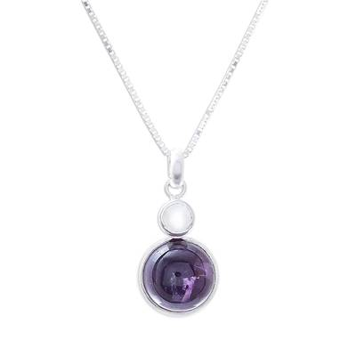 Amethyst and moonstone pendant necklace, 'Mystical Star' - Amethyst and Moonstone Pendant Necklace from Thailand