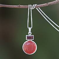Agate and garnet pendant necklace, 'Beautiful Gleam' - Agate and Garnet Pendant Necklace from Thailand