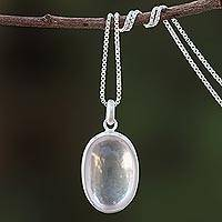 Rose quartz pendant necklace, 'Rosy Oval' - Oval Rose Quartz Pendant Necklace from Thailand