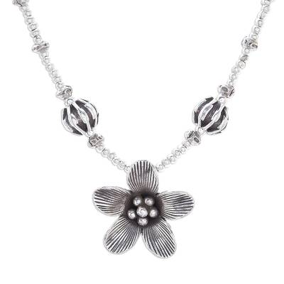 Silver beaded pendant necklace, 'Blooming Tropics' - Floral Silver Beaded Pendant Necklace from Thailand