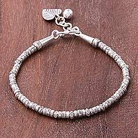 Silver beaded charm bracelet, 'Ringing Love' - Karen Silver Beaded Heart Charm Bracelet from Thailand