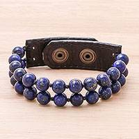Leather accented lapis lazuli beaded bracelet, 'Nature's Wish' (2-strand) - Leather Accented Lapis Lazuli Beaded Bracelet (2-Strand)