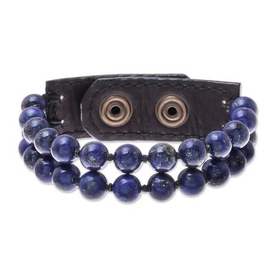 Leather Accented Lapis Lazuli Beaded Bracelet (2-Strand)