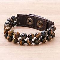 Leather accented tiger's eye beaded bracelet, 'Nature's Intrigue' (2-strand) - Leather Accented Tiger's Eye Beaded Bracelet (2-Strand)