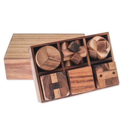 Wood puzzle set, 'Beautiful Challenge' (6 piece) - Raintree Wood Puzzle Set from Thailand (6 Piece)