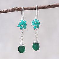 Quartz and agate dangle earrings,