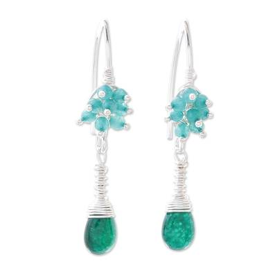 Green Quartz and Agate Dangle Earrings from Thailand