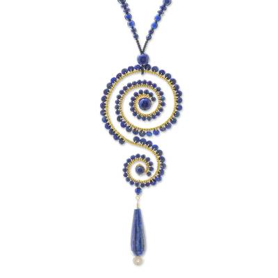 Lapis lazuli beaded pendant necklace, 'Bohemian Curl' - Bohemian Lapis Lazuli Beaded Pendant Necklace from Thailand