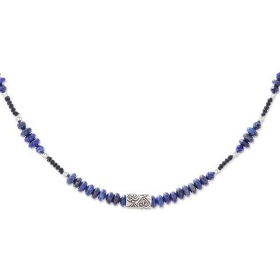 Lapis lazuli beaded necklace, 'Love Rotation' - Lapis Lazuli Beaded Heart Necklace from Thailand