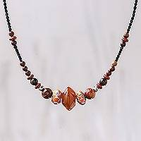 Agate and jasper beaded necklace, 'Passionate Fire' - Agate and Jasper Beaded Necklace from Thailand