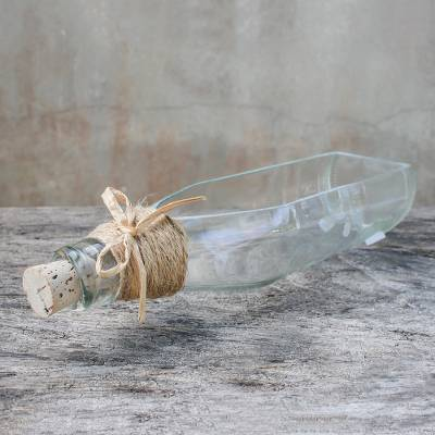 Recycled glass tray, 'Clear Messenger' - Clear Recycled Glass Bottle Tray from Thailand