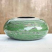 Bamboo decorative vase, 'Round Green' - Round Green Bamboo Lacquerware Decorative Vase from Thailand