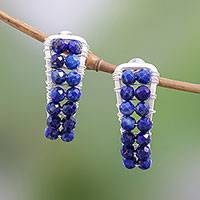 Lapis lazuli beaded drop earrings, 'Cool Midnight' - Handmade Lapis Lazuli Sterling Silver Beaded Drop Earrings