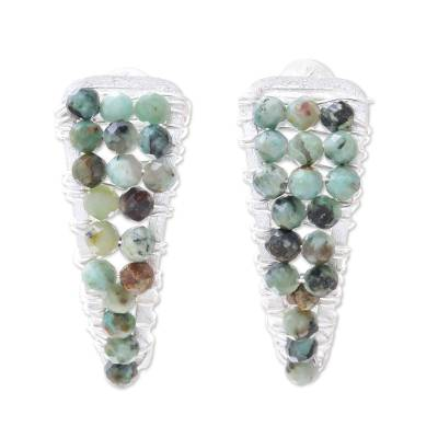 Sterling silver beaded drop earrings, 'Splendid Hills' - Sterling Silver and Reconstituted Turquoise Beaded Earrings